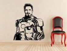 Tony Stark etiket demir adam süper kahraman, vinil çıkarılabilir çıkartması ev kapalı çocuk odası Art Deco fanlar özel duvar çıkartmaları CJY23
