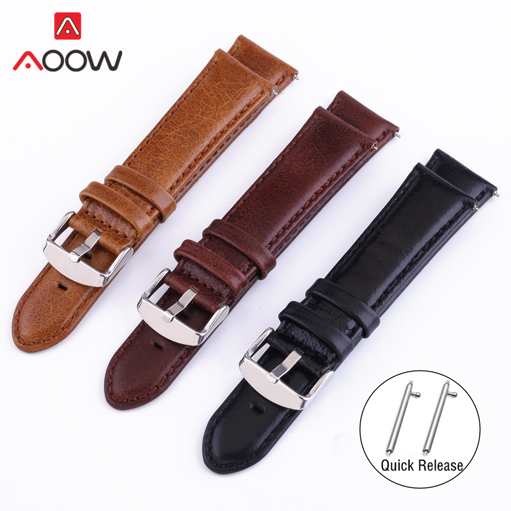 Crazy Horse Genuine Leather Watchband 18mm 20mm 22mm 24mm For Samsung Galaxy Watch 42mm 46mm Quick Release Bracelet Band Strap