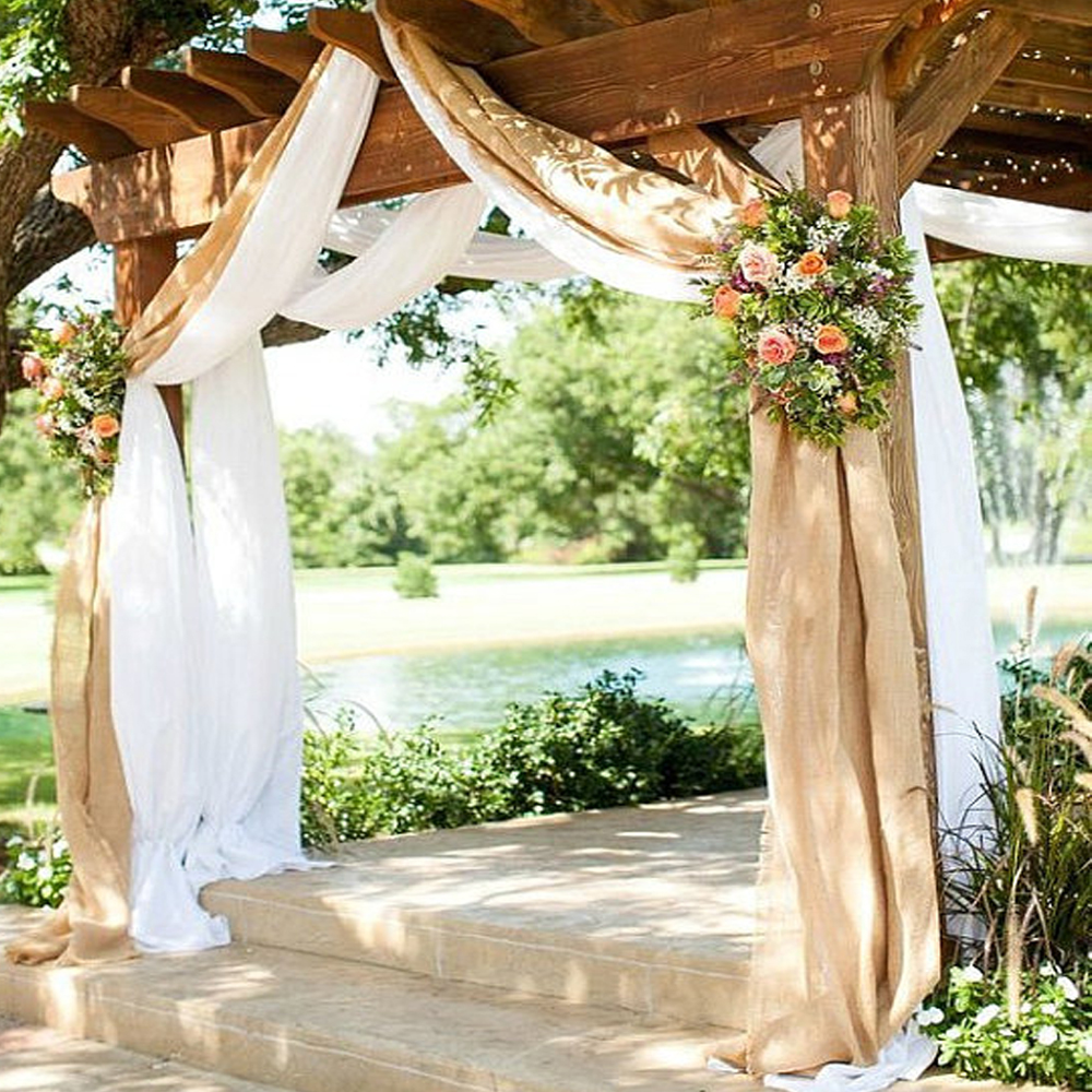Burlap wedding drapes rustic curtain panels burlap wedding - Cortinas vintage dormitorio ...