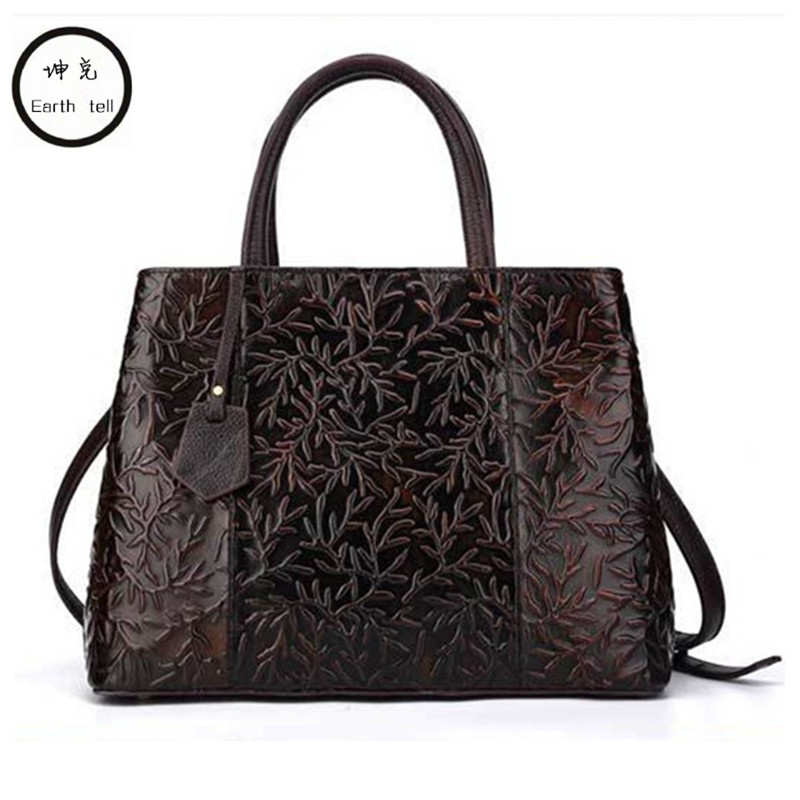 Earth tell Luxury Handbags Women Designer Plaid Woman Genuine Leather Handbag Big Casual Tote Bag Ladies Printing Shoulder Bags