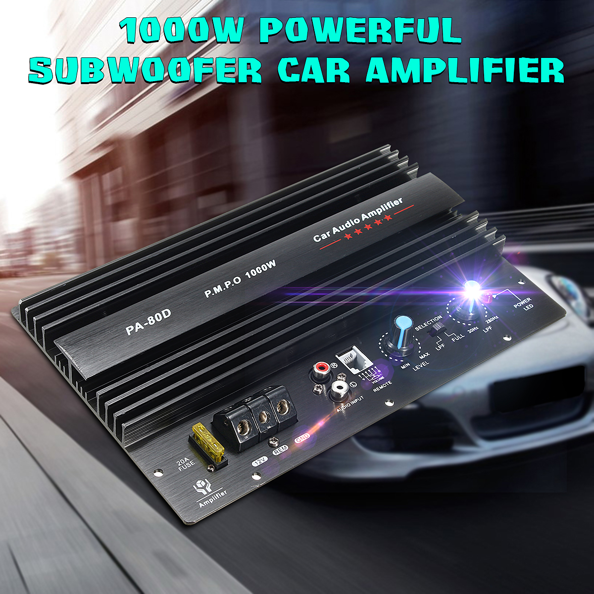 KROAK 12V 1000W Car Audio Subwoofers Amplifier Board Mono Car Audio Power Amplifier Powerful Bass Subwoofers DIY Amp 10 Inch