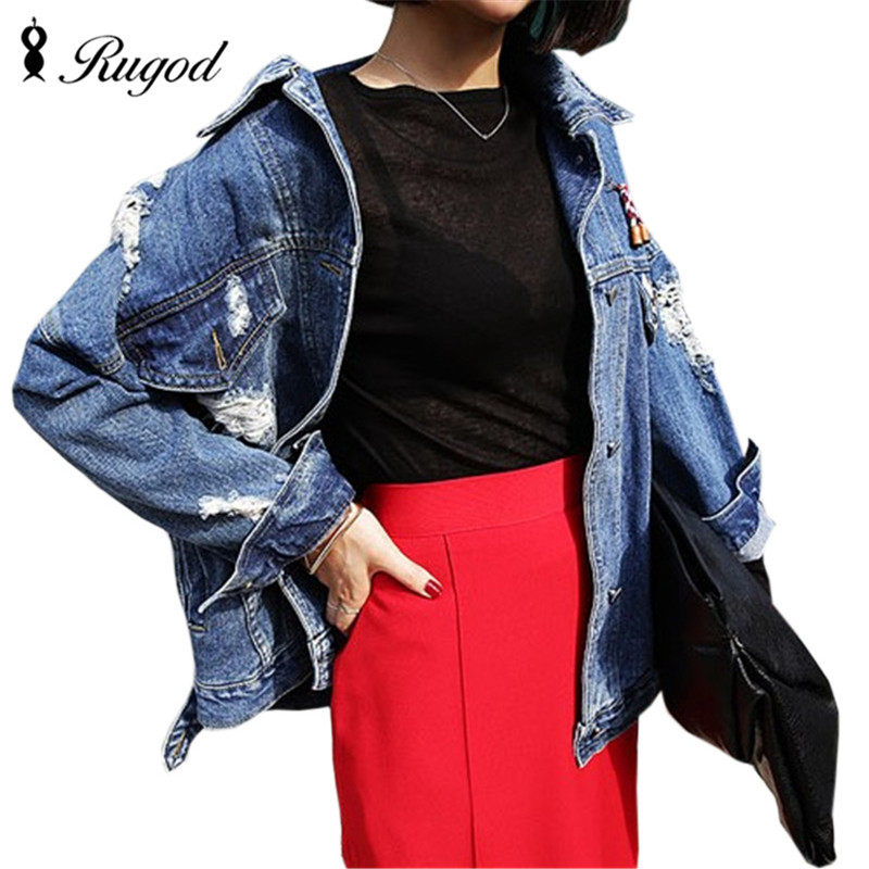 RUGOD 2018 Vintage Fashion Wash Water Denim Jacket badge Loose BF Denim Coat Hole Female Outerwear Plus Size Chaquetas Mujer