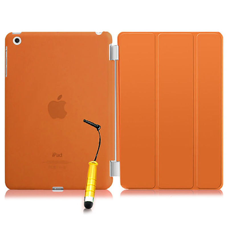 New Smart Stand Magnetic Leather Case Cover For Apple iPad Mini 1 2 & 3  colour:Orange Translucent new folding filio magnetic pu leather stand smart case for mini ipad 2 cover coque fundas for apple ipad mini 3 2 1 retina cases