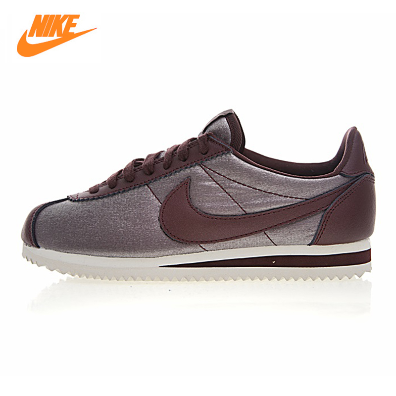 NIKE CLASSIC CORTEZ NYLON Women Running Shoes,Outdoor Sneakers Shoes,Wine Red, Breathable Lightweight Wear-resistant 905614 900