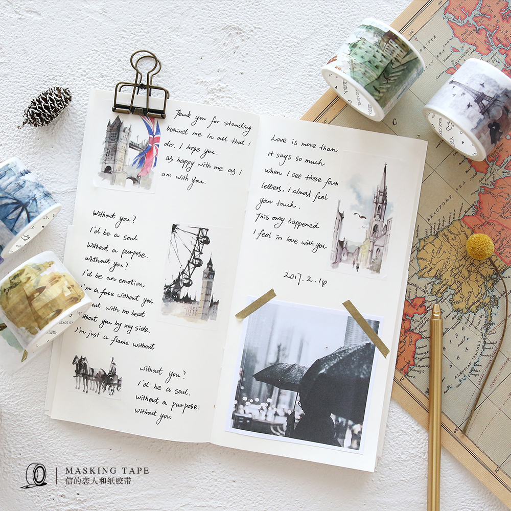Creative and paper tape world-wide travel hand-painted city building diary decoration stickers hand-drawn tape world outside the window paper