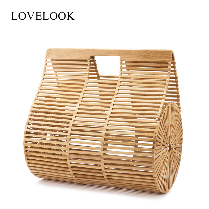 LOVEVOOK handbags women bamboo top handle bags female causal totes small hollow summer beach bags for ladies and girls wood 2019