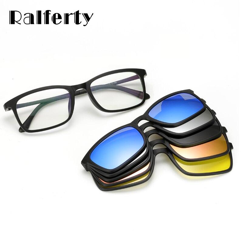 Ralferty Polarisierte Sonnenbrille Männer Frauen 5 In 1 Magnetische Clip Auf Gläser TR90 Optische Rezept Brillen Rahmen Brillen 8803
