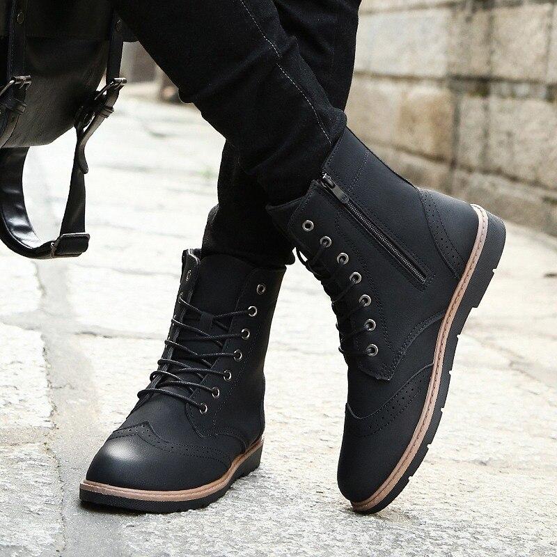 Luxus Mens Hohe Leder Stiefel Neue Mode Frühjahr Schuhe für Männer Bequeme Jungen Junge Casual Stiefel Wearable Kühlen männer schuhe - 6