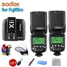 2X Godox V860IIF Flash Speedlite 2.4G Wireless GN60 HSS 1/8000s TTL + X1T-F Trigger for Fujifilm Fuji X-Pro2 X-T10 X-T20 X100F цена