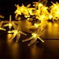 19.7ft 30 LED 8 Modos de la Libélula Solar Solar Luces De Navidad Luces de Hadas de Cuerda para el Partido De Navidad Decoraciones Al Aire Libre de La Lámpara Solar