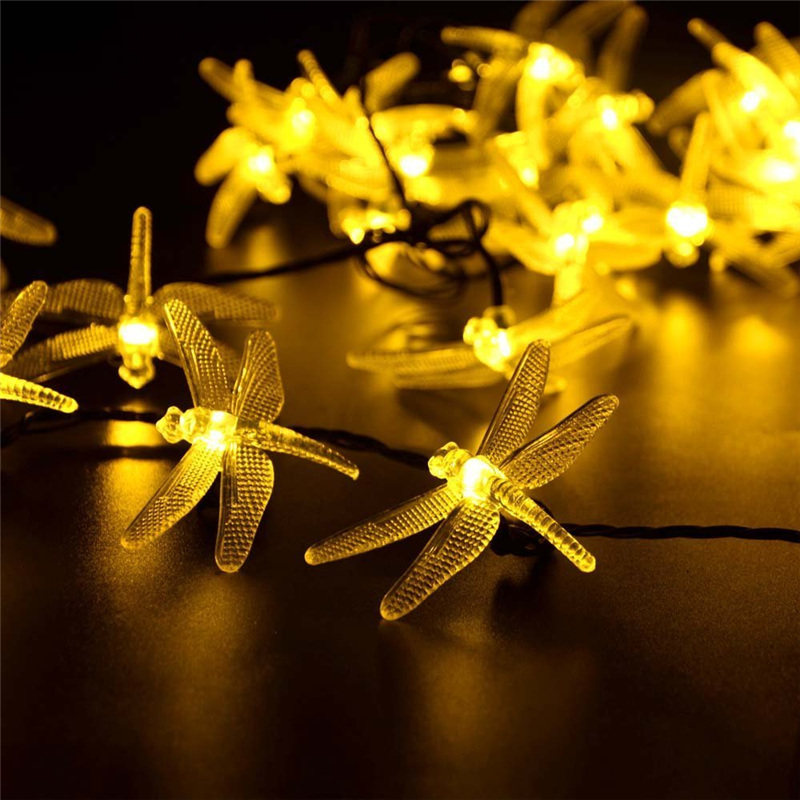 Solar christmas lights 19 7ft 30 led 8 modes solar dragonfly fairy string lights for xmas