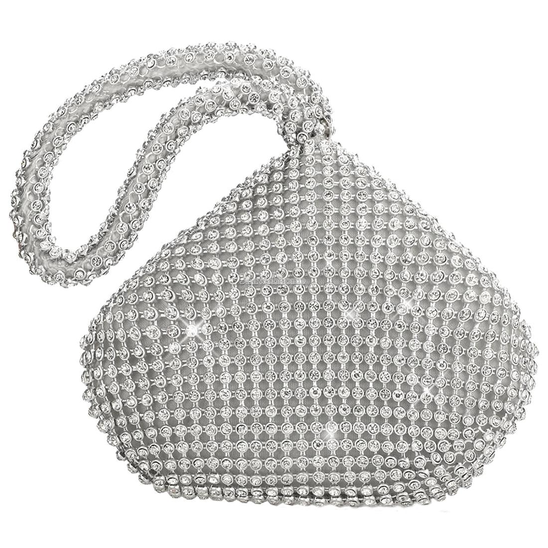 HEBA Chic Women Clutch Bag Fashion Full Drill Trianglar Evening Bags Shining Rhinestones Decor Ladies' Party Handbag