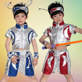 Girls Boys Sequined Ballroom Robot Alien Performance Dance Costumes for Childrens Dancewear Dancing Clothes Clothing Tops Shorts