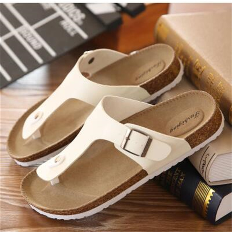 EUR 35 46 Summer style Man fashion flats slippers Lovers Cork Beach Sandals High quality flip flops Black brown white red in Flip Flops from Shoes