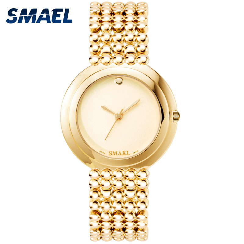 SMAEL Women Watches Clock Calendar Digital Rose-Gold Elegant Waterproof Fashion Quartz
