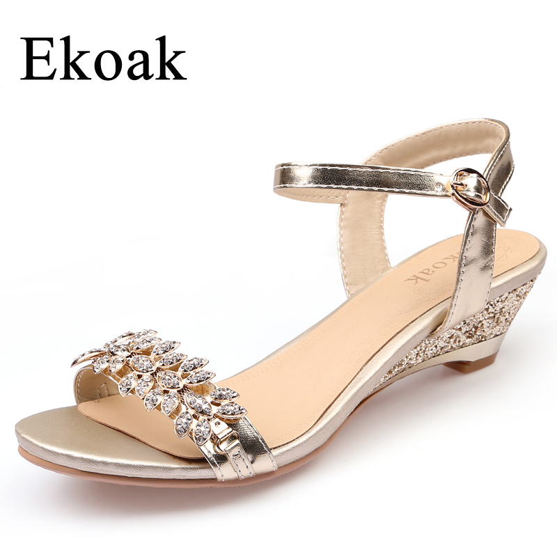 Ekoak New Summer Fashion Women Sandals Sexy Crystal Bling Medium Heels Shoes Woman Wedges Sandals Party Dress Shoes ekoak new 2018 summer shoes woman fashion crystal women sandals ladies wedges platform shoes woman party shoes gladiator sandals