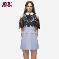 Jastie Shirting Lace Cape Mini Dress Blue White Striped Dress Adjustable Belt Casual Short Summer Dresses 2017 Women Clothing