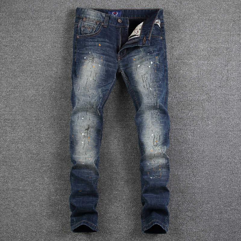 Темно-голубой цвет модные Для мужчин джинсы Краски грязную работу уничтожены Рваные джинсы Homme брендовые джинсы Для мужчин Slim Fit High Street джинсовые штаны