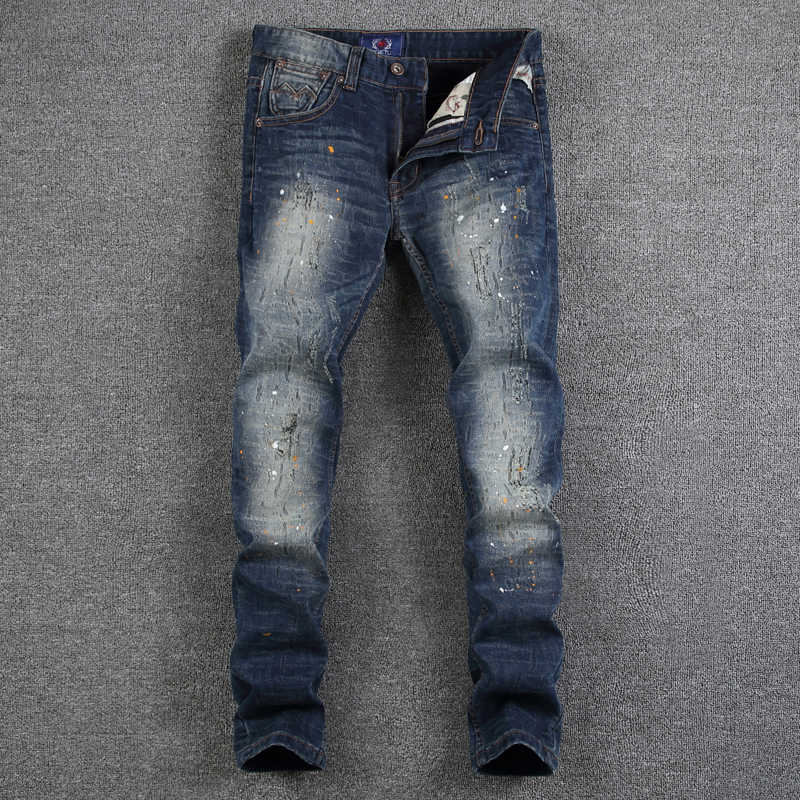 Pantalones Vaqueros De Color Azul Oscuro Para Hombre Vaqueros Rasgados Con Pintura Para Trabajo Sucio Vaqueros Ajustados Para Hombre Jeans Men Slim Fit Denim Pantsjean Fashion Homme Aliexpress