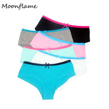 Moonflme 5 pcs/lots Hot Sale 2019 Cotton Hipster Womens Panties M9059
