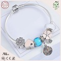 Newest Arrival With New Silver Flower  And Murano Charms 925 Sterling Silver Material Charm Bracelet