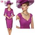 Design moderno Fushcia Renda Mãe do Vestido de Noiva Curto Comprimento Do Joelho Com Jaqueta Estilo Elegante Preço Competitivo