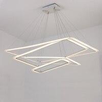 Кольца прямоугольной формы светодиодный люстры акриловые фонари лампа для столовой гостиной lampadario moderno светодиодные люстры канделябры
