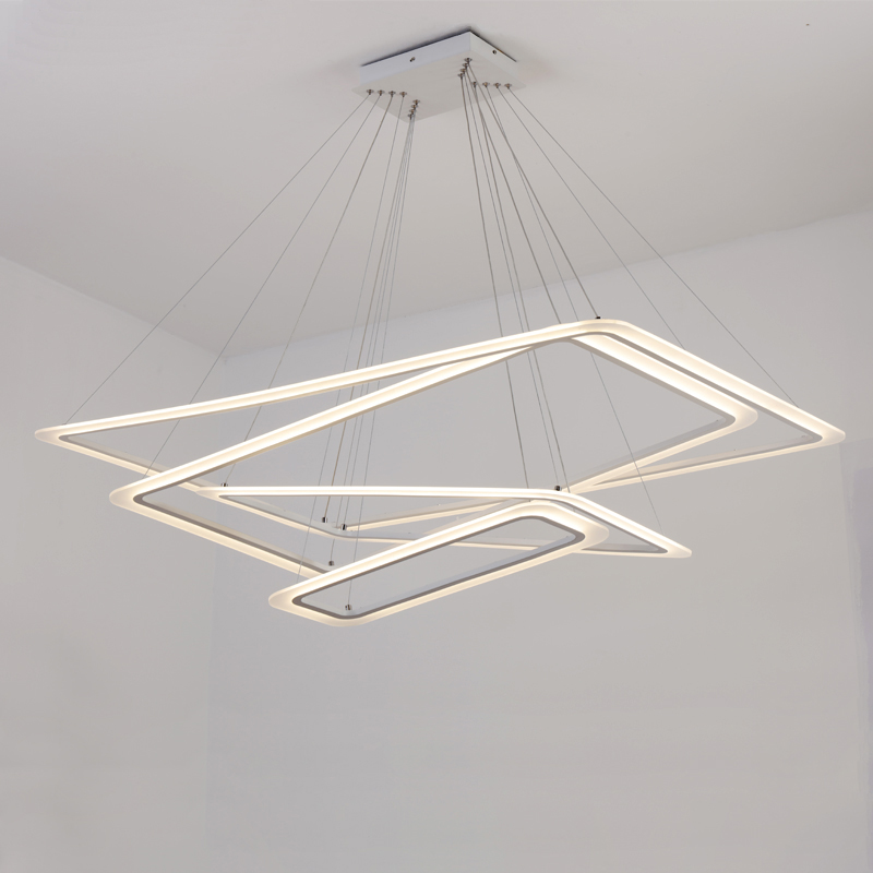 Rectangular rings LED chandeliers acrylic lights lamp for dinning room living room lampadario moderno Lustre Chandelier Lighting