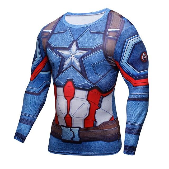 3D מודפס חולצות קפטן אמריקה מלחמת אזרחי טי ארוך שרוול דחיסת חולצה קוספליי תלבושות כושר בגדי חולצות זכר