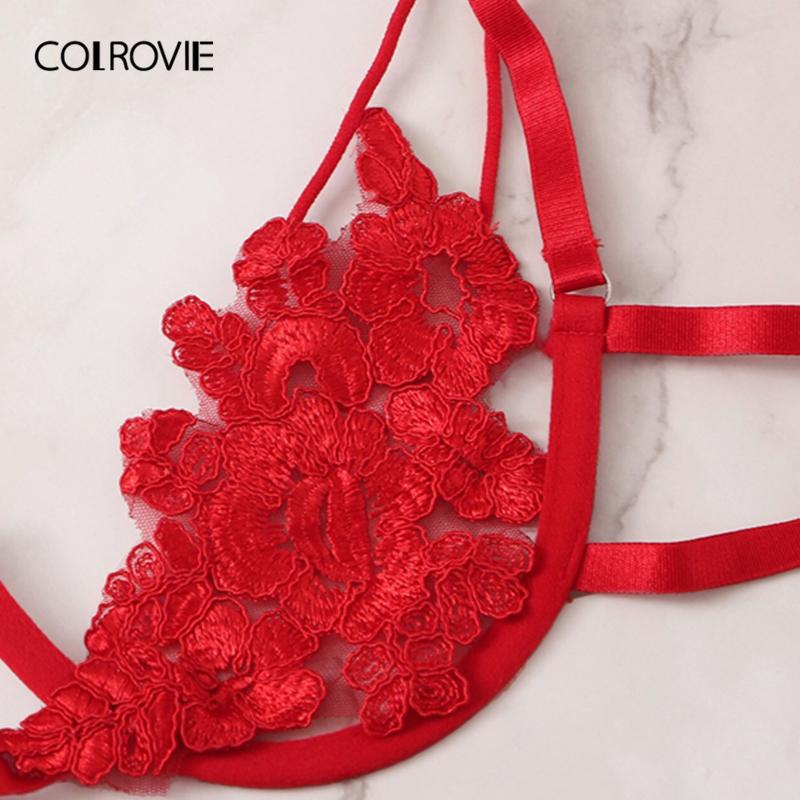 COLROVIE Red Floral Lace Cut Out Sexy Lingerie Set Women Intimates 2019 Underwire See Through Bra And Thongs Underwear Set