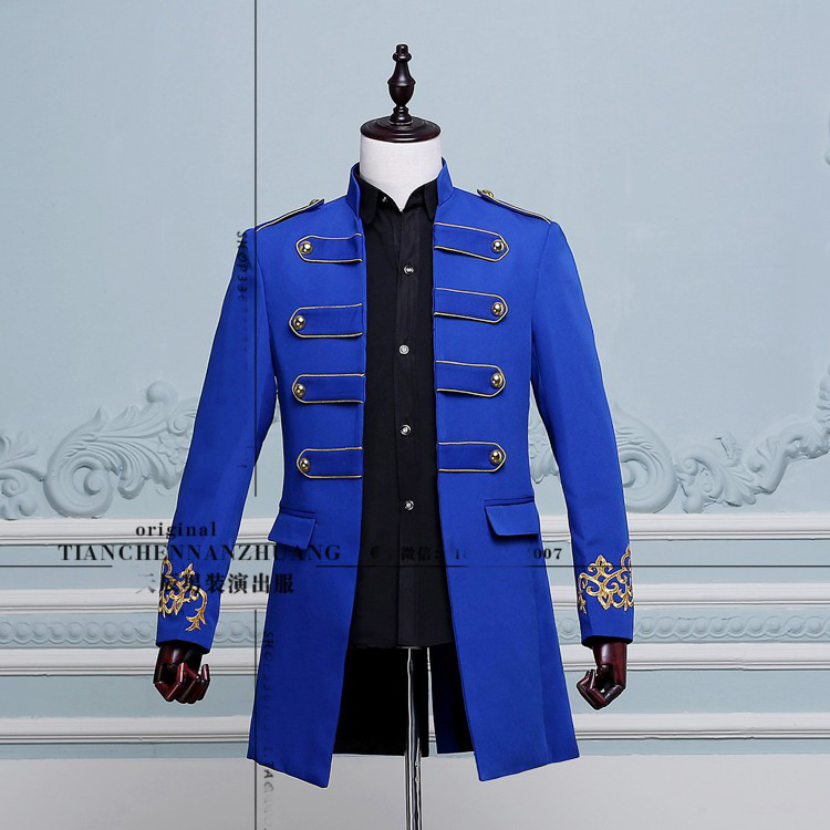 Free shipping mens royal blue white black embroidery medieval tuxedo jacket stage performance this is only