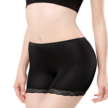 Summer Ladies Hot Pants Jersey  Biker Tight Womens Scallop Lace Trim  Shorts Safety Pants Black Flashcolor scallop trim lace embroidered kimono