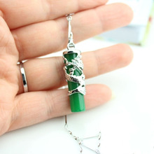 drop 005 925 Silver sterling Natural Malay jade pendant emerald Dragon universal cylindrical stone charms