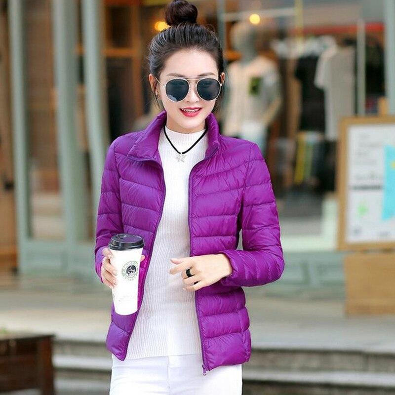2017 женщин ультра легкий пуховик зима утка вниз куртки женщин тонкий длинный рукав куртка молния пальто карманы твердые куртки