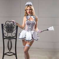 6pcs Set French Maid Costumes Servant Girl Lingerie Garter Underwear Uniforms Sissy Clothing Hot Night Clubwear Sex Nightwear