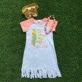 2016 новый бесплатная доставка летний новый новорожденных девочек бутик рукавов белое перо кистями платье с соответствующими ожерелье и heaband
