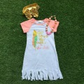 2016 new free shipping summer new baby girls boutique sleeveless white feather tassels dress with matching necklace and heaband