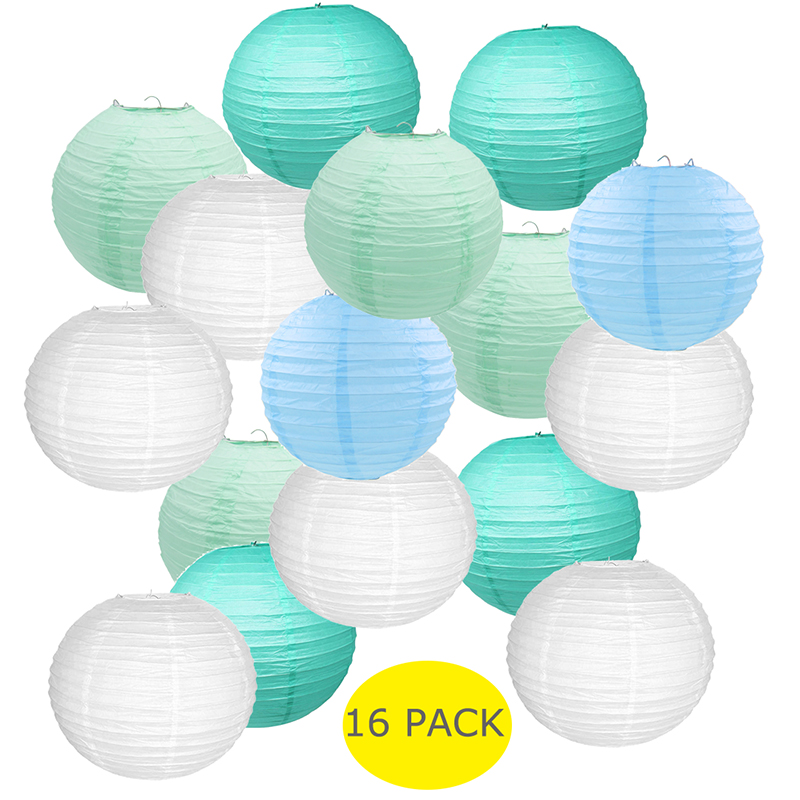 16 Pcs Lot 14inch White Mint Blue Paper Lanterns Assorted Colors Hanging Ball lampion Wedding Outdoor