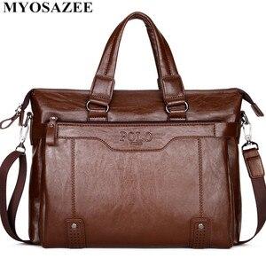 Image 2 - MYOSAZEE célèbre marque hommes mode Simple affaires porte documents sac mâle en cuir pour ordinateur portable sac décontracté hommes voyage sacs épaule