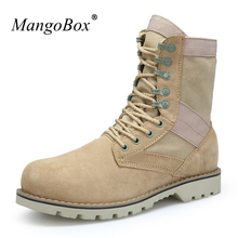 MangoBox Military Boots For Men Adult Beige Male Work Sneakers Mid-Calf Man Combat Shoes Handsome Youth Military Tactical Boots