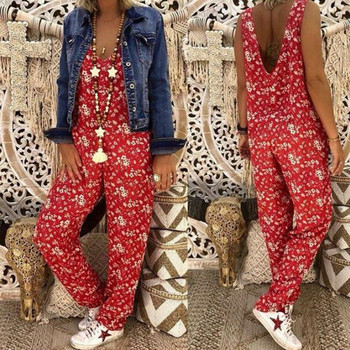Women Flower Print  Loose Jumpsuits Rompers V-neck Herem Pants Sport Slacks Suspenders Hip Pop Sport Slacks 3