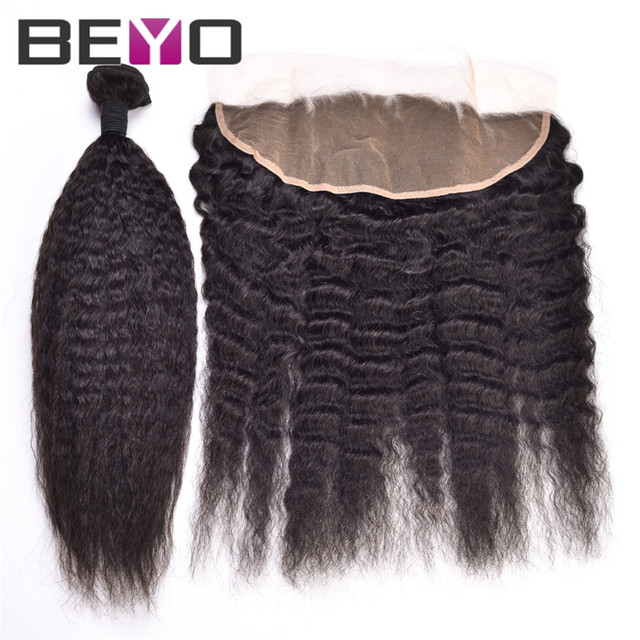 13x4 Lace Frontal Closure With Bundles Kinky Straight Brazilian Virgin Hair With Closure 7A Full Lace Front With Hair Bundles