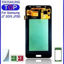 Pantalla LCD de 5,5 pulgadas para SAMSUNG Galaxy J7 2015 J700 Super AMOLED, montaje de digitalizador con pantalla táctil, J700F J700M J700H