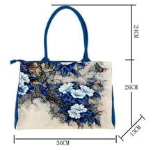 Beautiful Floral Print Canvas Shoulder Handbags