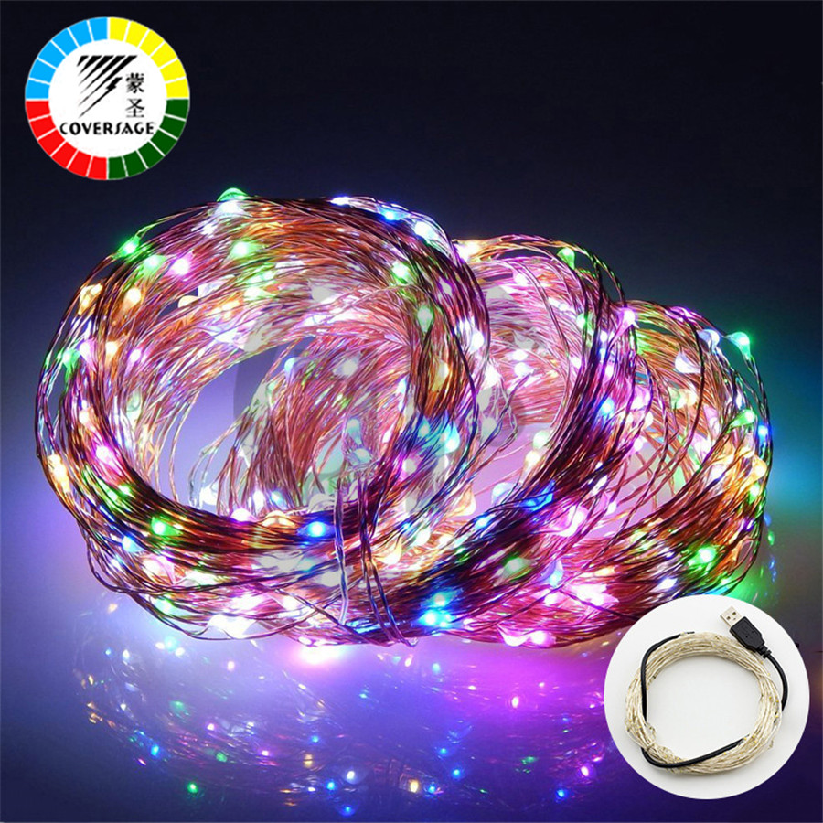 Coversage 10M 100 Leds Fairy String USB Copper Wire Lights Christmas Tree Indoor Curtain Holiday Garland Decoration Lamp Lights