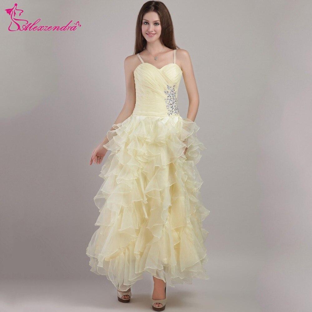 Alexzendra jaune clair chérie perlée volants thé longueur une ligne robes de bal robe de soirée robes de soirée pour les filles