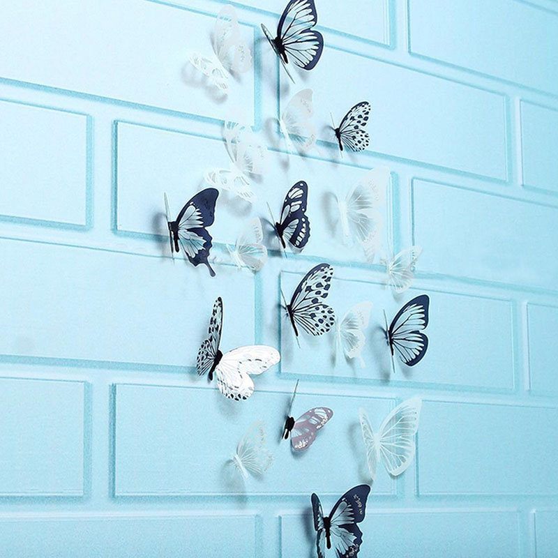 HOT 18Pcs 3D Black And White Butterfly Sticker Art Wall Decal Home Decoration Room Decor  LSF99(China)