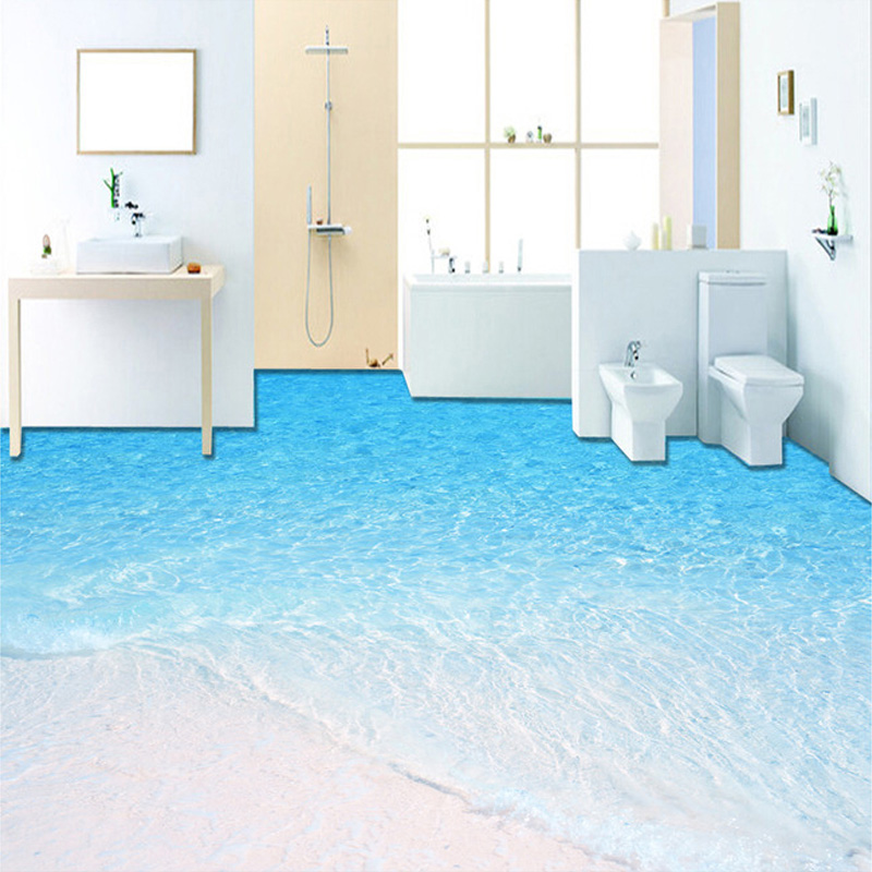 Custom Photo Floor Wallpaper 3D Beach Seawater Living Room Bathroom Floor Mural Paintings PVC Self-adhesive Wallpaper Home Decor