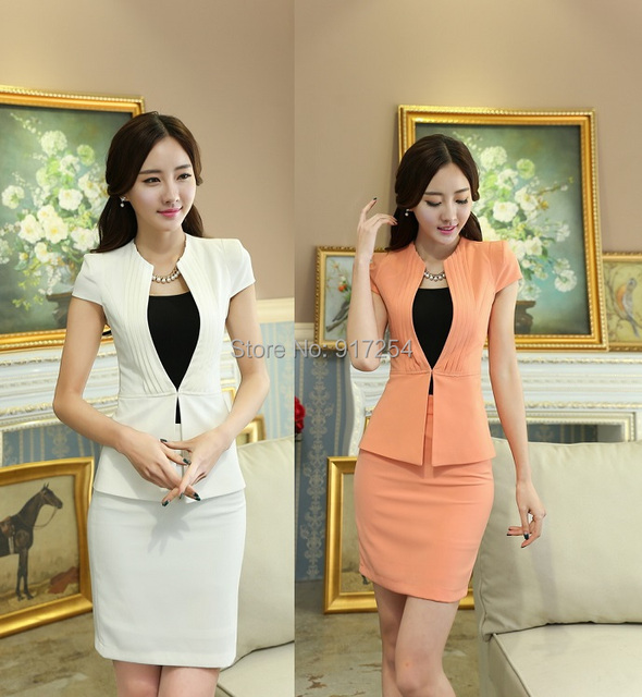 New Elegant White 2015 Summer Formal Uniform Style Short Sleeve Business Women Suits Jackets And Skirt Office Ladies Work Wear