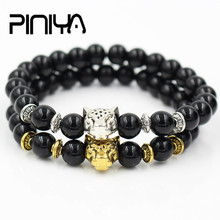New Fashion Gold Silver Color Leopard Head Charm Black Onyx Stone Bead Bracelet Elastic Yoga Male For Men Women